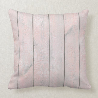 Floral Decor Gray Pink Rose Wood Cottage Home Cushion