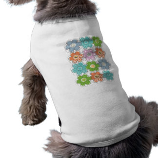 Floral Decor Sleeveless Dog Shirt