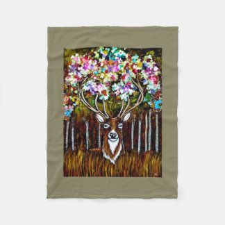 Floral Deer Antler Art on Fleece Blanket 30x40