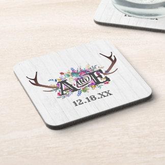Floral Deer Antler Bouquet Rustic Wedding Monogram Coaster