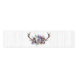 Floral Deer Antler Bouquet Rustic Wedding Monogram Napkin Band