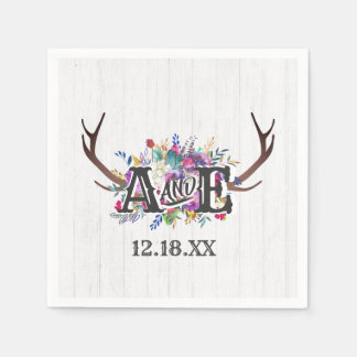 Floral Deer Antler Bouquet Rustic Wedding Monogram Paper Napkin
