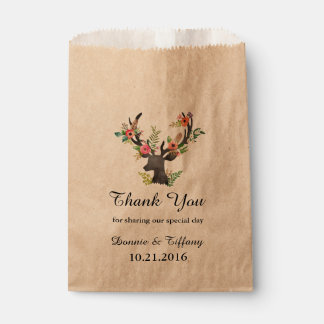 Floral Deer Wedding Favor Bag Bridal Shower