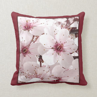 Floral Delicacy Pillow - Home Decor - White/Maroon
