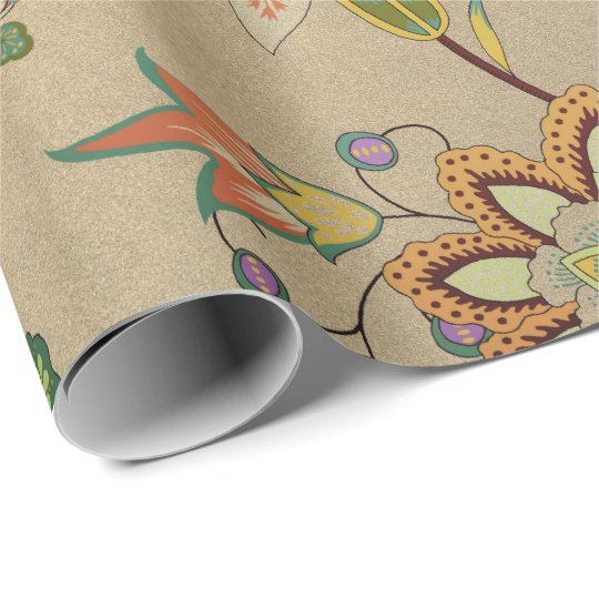 Floral Delicate Oriental Garden Gold Kraft Cali Wrapping