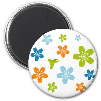 Floral Design 6 Cm Round Magnet