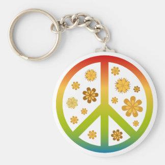 Floral Design Basic Round Button Key Ring