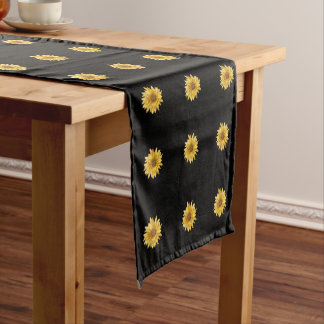 Floral design, big yellow sunflowers, brown center short table runner