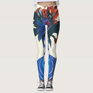 floral design, collage, blue& orange leggings