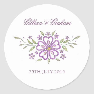 Floral Design Elegant Wedding Stickers