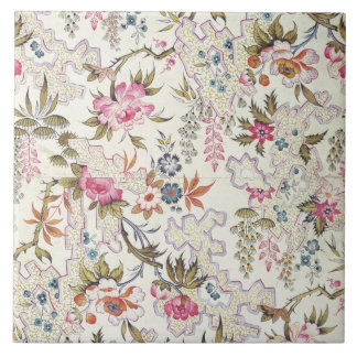 Floral design for silk material with stylized flow large square tile