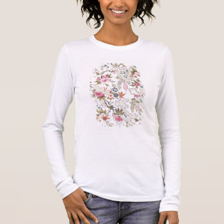 Floral design for silk material with stylized flow long sleeve T-Shirt