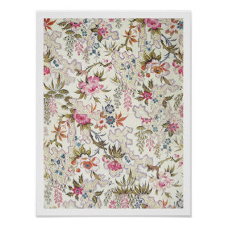 Floral design for silk material with stylized flow print