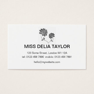 Floral Design in Black and White Business Card