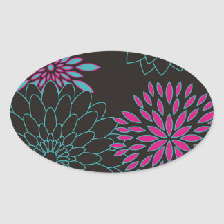 Floral Design Modern Abstract Flowers Oval Sticker