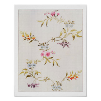 Floral design of carnations and roses for a silk m poster