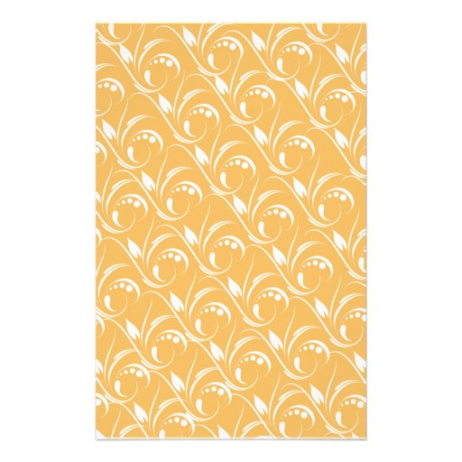 Floral Design On Beeswax Orange Yellow Background Stationery Paper