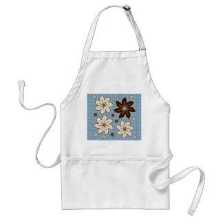 Floral design on blue adult apron