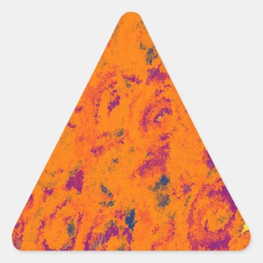 floral Design orange Triangle Sticker