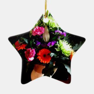 floral design, original photograph ceramic star decoration