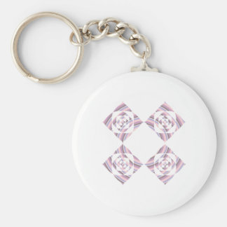 Floral Design. Pink and pastel multi-color. Basic Round Button Key Ring