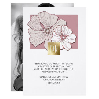 Floral Design Wedding Thank You Custom Photo Cards 13 Cm X 18 Cm Invitation Card