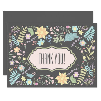 Floral Design Wedding Thank You Flat Cards