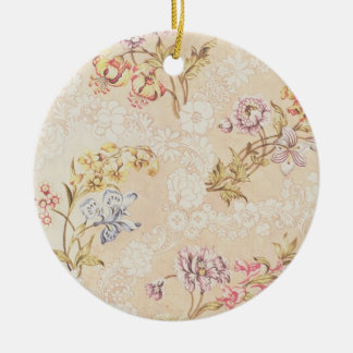Floral design with peonies, lilies and roses for S Round Ceramic Decoration