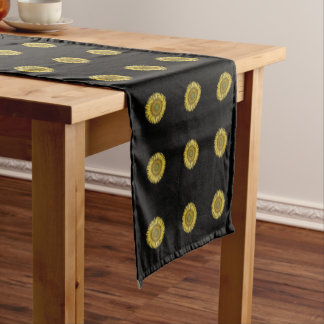 Floral design, yellow sunflowers short table runner