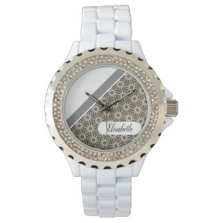 FLORAL DIAGONAL monogram and floral pattern Watch