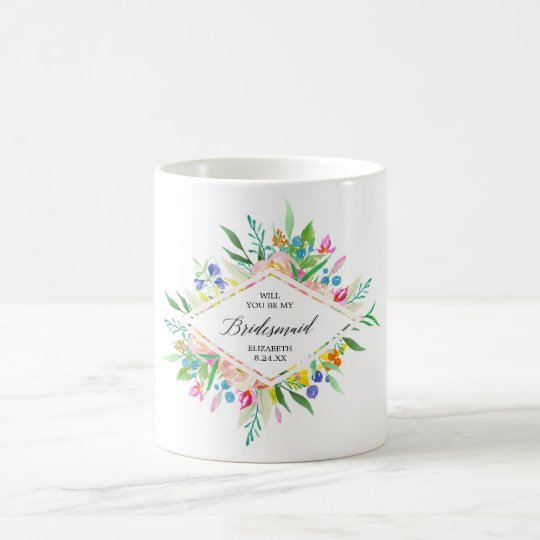 Floral Diamond Bridesmaid Coffee Mug