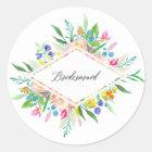 Floral Diamond Bridesmaid Sticker