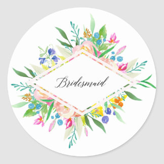 Floral Diamond Bridesmaid Sticker