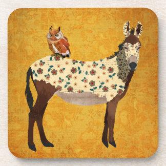 Floral Donkey Owl Coaster