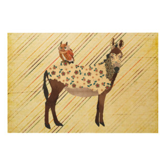 Floral Donkey & Owl Wooden Canvas Wood Canvases