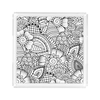 Floral Doodle Pattern Acrylic Tray