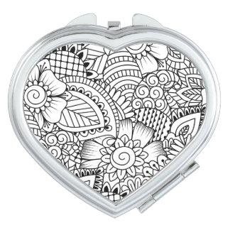 Floral Doodle Pattern Makeup Mirror