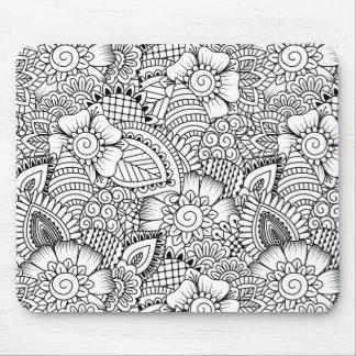 Floral Doodle Pattern Mouse Mat