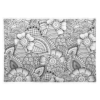 Floral Doodle Pattern Placemat
