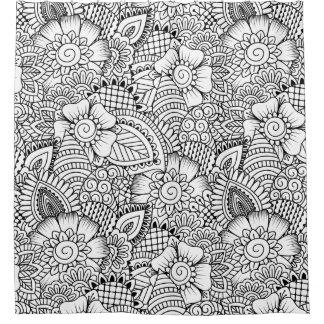 Floral Doodle Pattern Shower Curtain