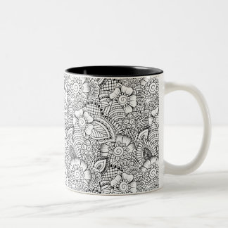 Floral Doodle Pattern Two-Tone Coffee Mug