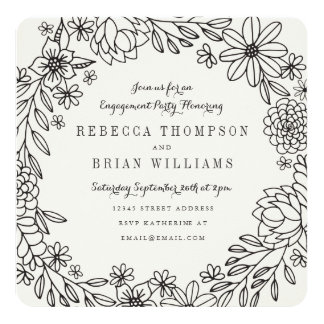 Floral Doodles Engagement Party Card