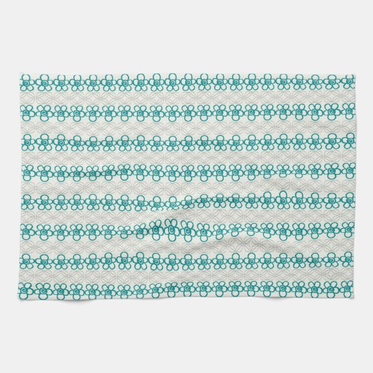 Floral Doodles in Turquoise and Grey Pattern Tea
