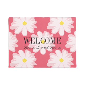 Floral door mat with daisy flowers and custom text