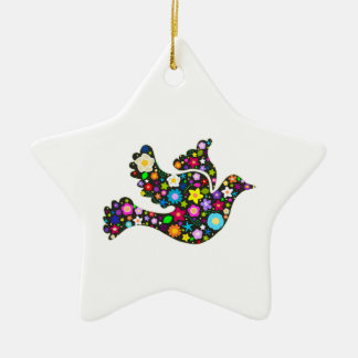 Floral Dove of flowers Christmas Ornament