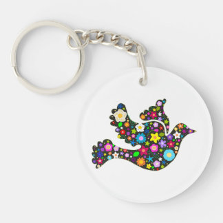 Floral Dove of flowers Key Ring