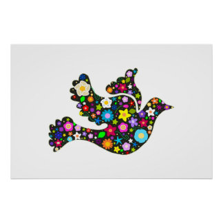 Floral Dove of flowers Poster