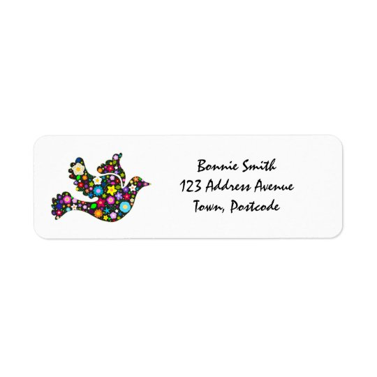 Floral Dove of flowers Return Address Label