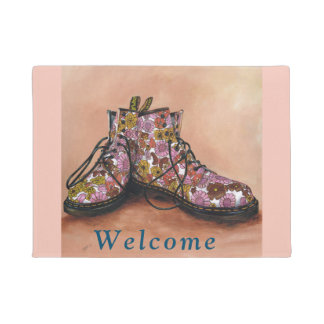 Floral Dr Martens Boots Door mat