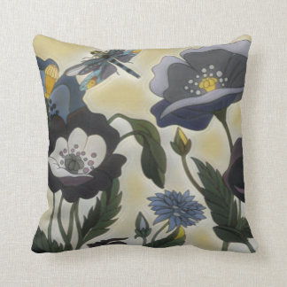 Floral Dragonfly Throw Pillow